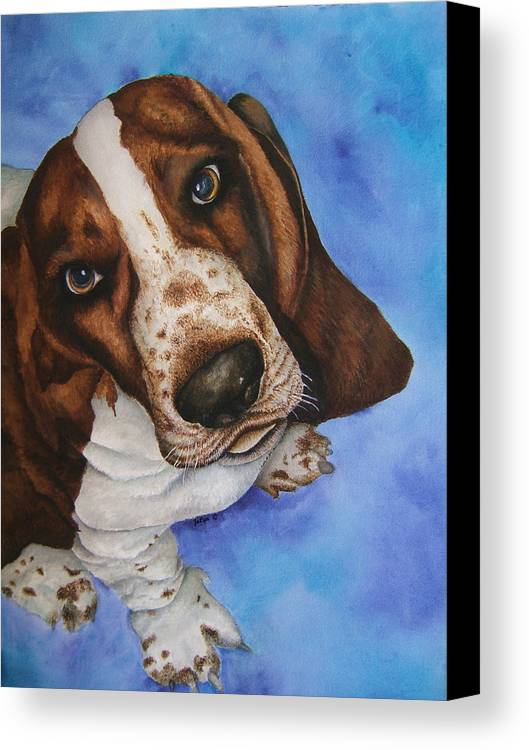 Basset Hound Dog Puppy Canvas Print featuring the painting Otis The Basset Hound by JoLyn Holladay