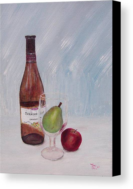 Still Life Canvas Print featuring the painting Pear In Glass by Tony Rodriguez
