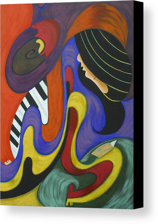 Abstract Expressionism Canvas Print featuring the painting Reading With Music by Marta Giraldo