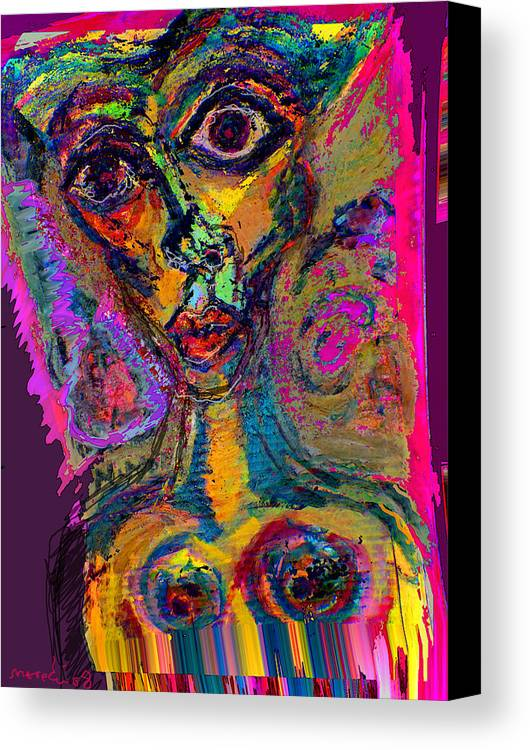 Mask Canvas Print featuring the painting Vodoo by Noredin Morgan