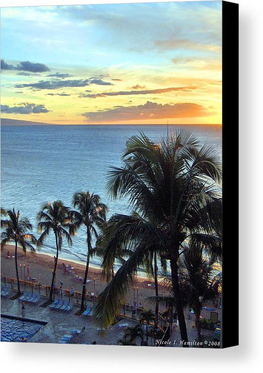 Palm Tree Canvas Print featuring the photograph Resort Sunset by Nicole I Hamilton