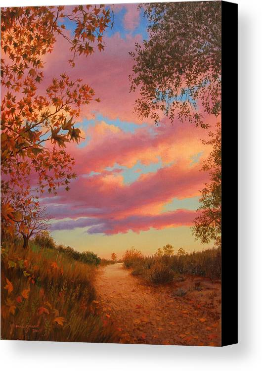Sunset Canvas Print featuring the painting Solitude by Johanna Girard