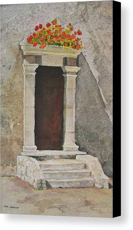 Antique Doorway Canvas Print featuring the painting Ancient Doorway by Mary Ellen Mueller Legault