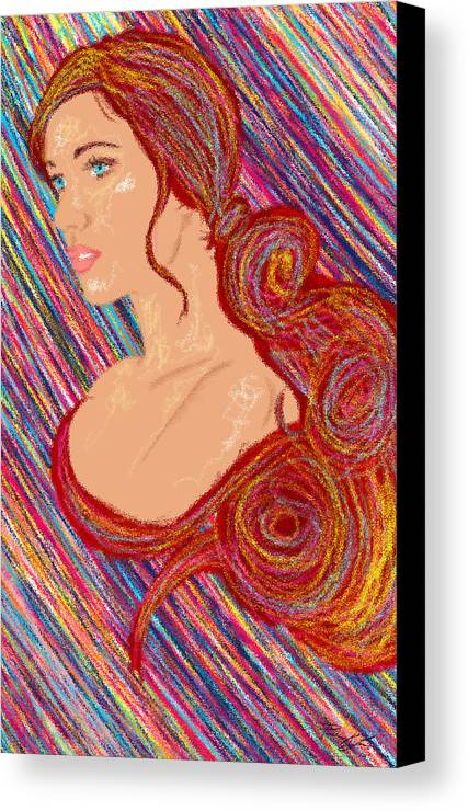 Hair Abstract Art Canvas Print featuring the painting Beauty Of Hair Abstract by Kenal Louis