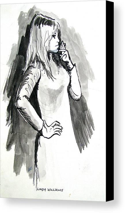 Movie Stars Canvas Print featuring the drawing Brigitte Bardot by Linda Williams