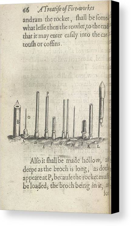 Recreational Objects Canvas Print featuring the photograph Fireworks by British Library