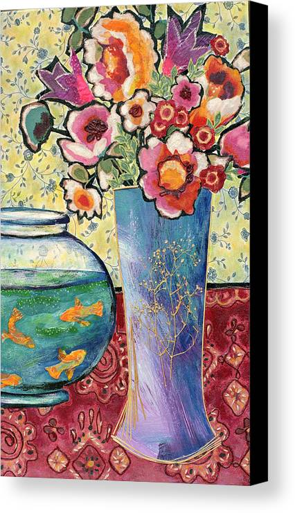 Flowers In A Vase Canvas Print featuring the mixed media Fish Bowl And Posies by Diane Fine