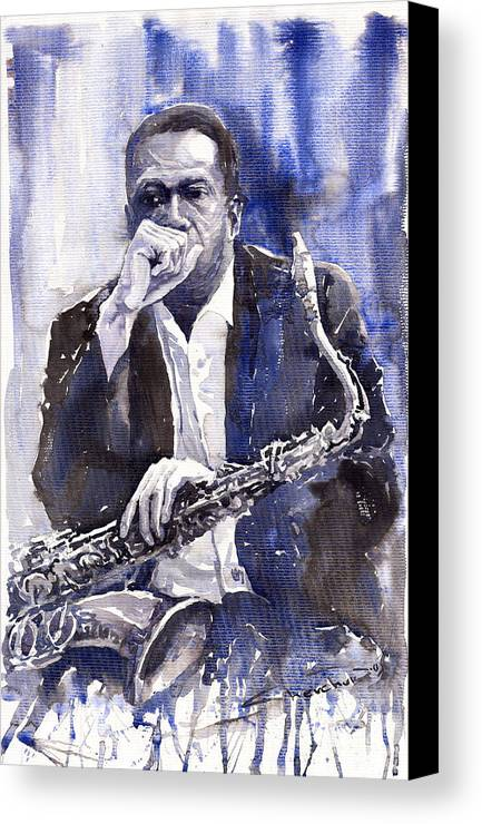 Jazz Canvas Print featuring the painting Jazz Saxophonist John Coltrane Blue by Yuriy Shevchuk