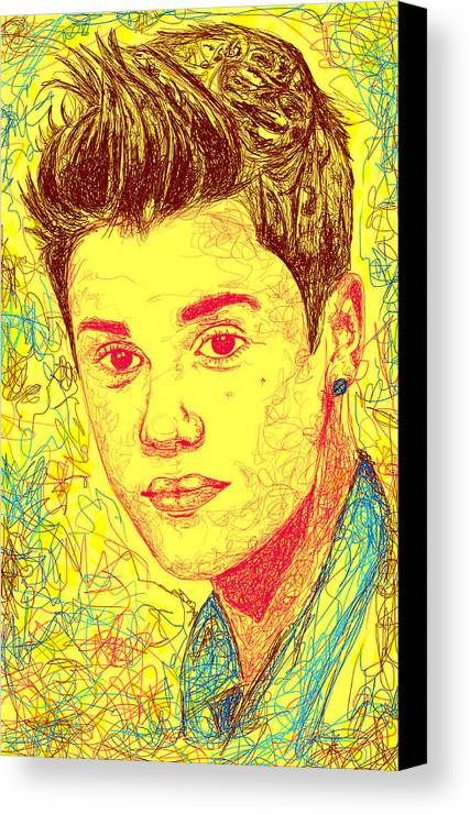 Justin Bieber Canvas Print featuring the digital art Justin Bieber In Line by Kenal Louis