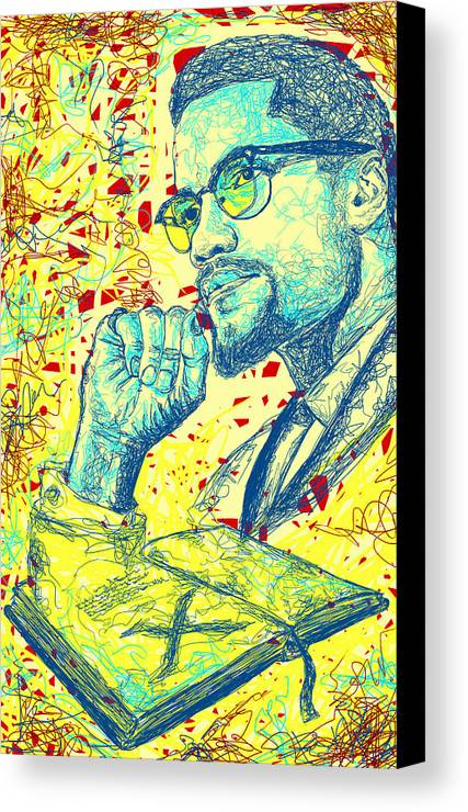 Malcolm X Drawing In Lines Canvas Print featuring the drawing Malcolm X Drawing In Lines by Pierre Louis