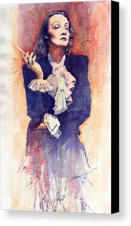 Watercolour Canvas Print featuring the painting Marlen Dietrich by Yuriy Shevchuk