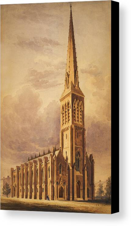 Church Canvas Print featuring the painting Masonry Church Circa 1850 by Aged Pixel
