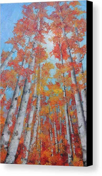 Aspens Canvas Print featuring the painting Reaching Skyward by Robin Hegemier