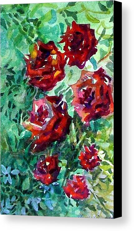Rose Canvas Print featuring the painting Roses by Mindy Newman