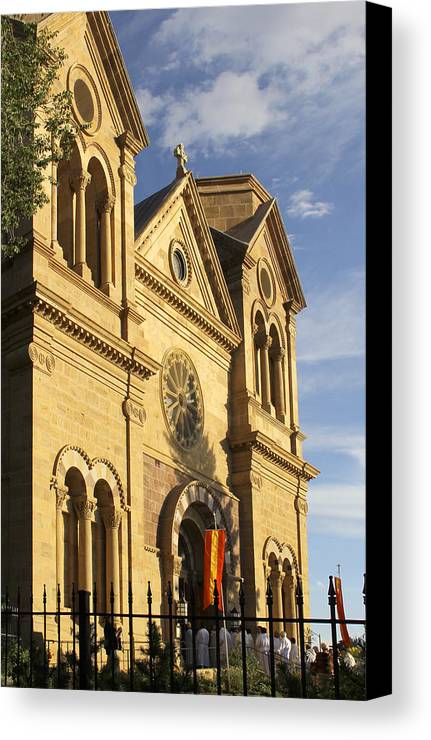 St. Francis Cathedral Canvas Print featuring the photograph St. Francis Cathedral - Santa Fe by Mike McGlothlen