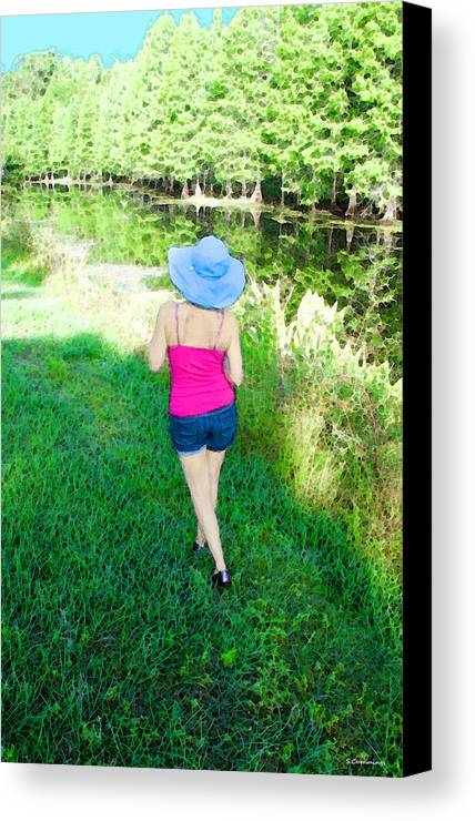 Sun Hat Canvas Print featuring the painting Summer Stroll In The Park - Art By Sharon Cummings by Sharon Cummings