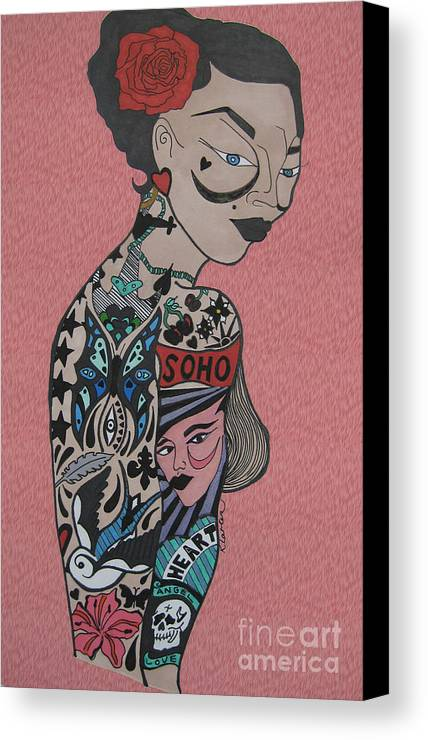 Girl Canvas Print featuring the drawing Tattoo Chic Pink by Karen Larter