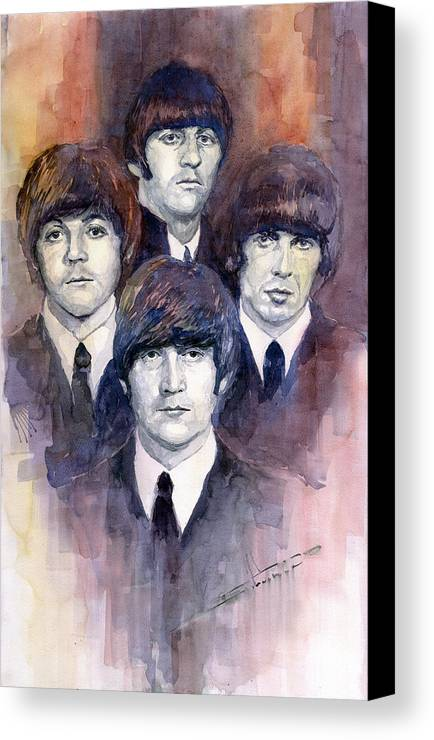 Watercolor Canvas Print featuring the painting The Beatles 02 by Yuriy Shevchuk