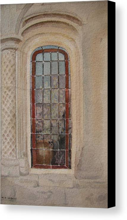 Window Canvas Print featuring the painting What Is Behind The Window Pane by Mary Ellen Mueller Legault