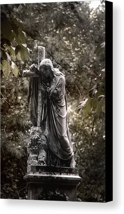Ancient Canvas Print featuring the photograph Christ With Cross by Kelly Rader
