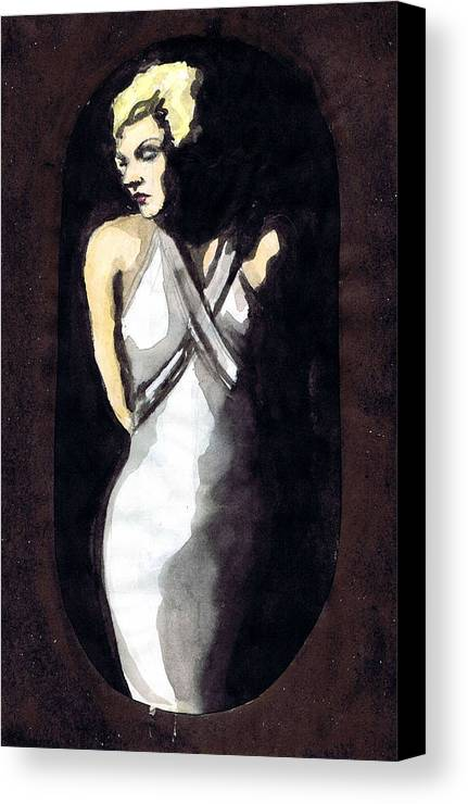 Nostalgia Canvas Print featuring the drawing Jean Harlow 2 by Mel Thompson