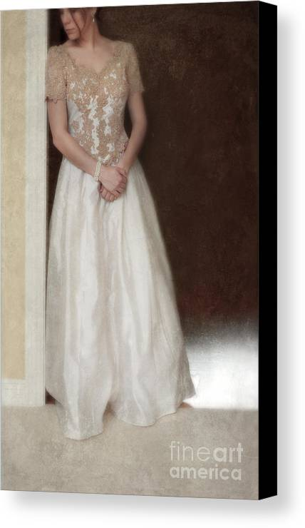 Beautiful Canvas Print featuring the photograph Lacy In Ecru Lace Gown by Jill Battaglia