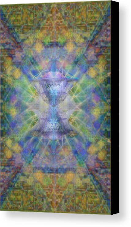Chalicell Canvas Print featuring the digital art Pivortexspheres On Chalicell Garden Tapestry Ivb by Christopher Pringer