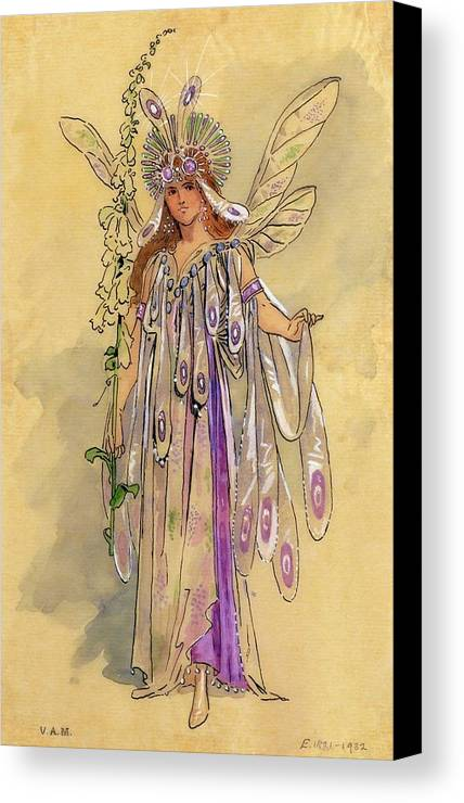 Theatrical; Clothing; Fairy; C20th; Shakespeare; Shakespearian Canvas Print featuring the drawing Titania Queen Of The Fairies A Midsummer Night's Dream by C Wilhelm