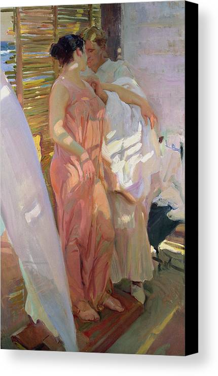 After The Bath Canvas Print featuring the painting After The Bath by Joaquin Sorolla y Bastida