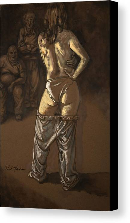 Nude Canvas Print featuring the painting Angelique With Men by Paul Herman