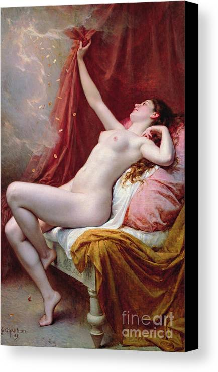 Nude Canvas Print featuring the painting Danae by Alexandre-Jacques Chantron