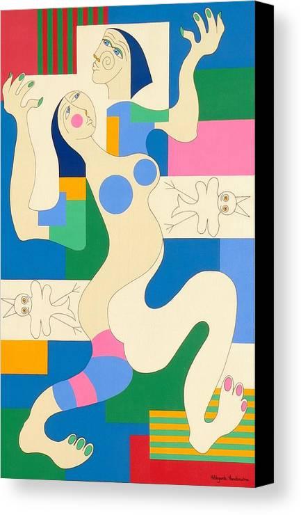 Modern Constructivisme People Birds Original Stylisme Canvas Print featuring the painting Dancing by Hildegarde Handsaeme