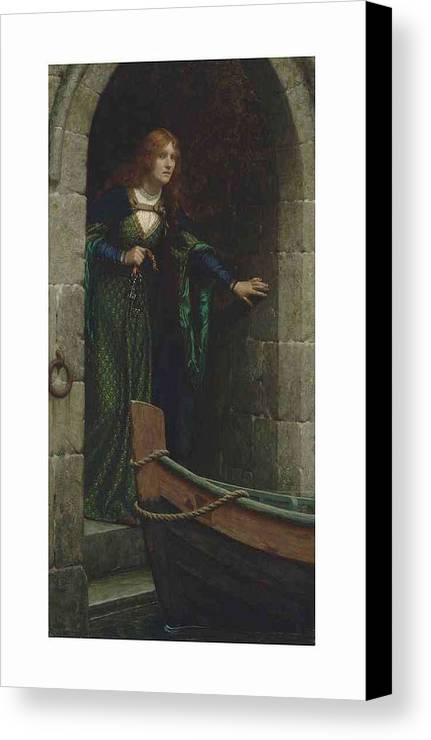 Girl Canvas Print featuring the painting Edmund Blair Leighton 1852-1922 The Keys by Edmund Blair Leighton