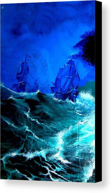 Seascape Canvas Print featuring the painting Fight For Life by Glory Fraulein Wolfe