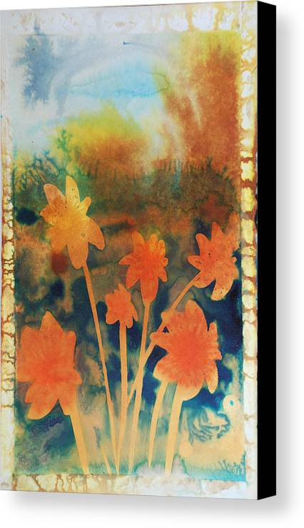 Flowers Bright Free Loose Blue Yellow Green Red Orange Canvas Print featuring the painting Fire Storm In The Wild Flower Meadow by Amy Bernays