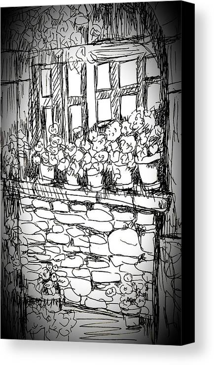 Flowers Canvas Print featuring the drawing Flowers On Window by Hae Kim