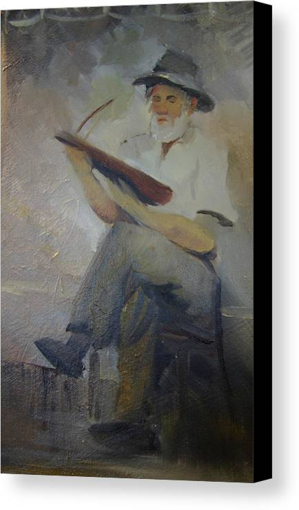 Dulcimer Canvas Print featuring the painting Jack Smitherman Playing The Bowed Psaltery by Jill Holt