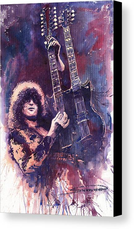 Watercolour Canvas Print featuring the painting Jimmy Page by Yuriy Shevchuk
