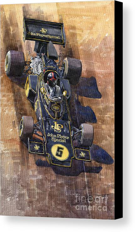 Watercolour Canvas Print featuring the painting Lotus 72 Canadian Gp 1972 Emerson Fittipaldi by Yuriy Shevchuk
