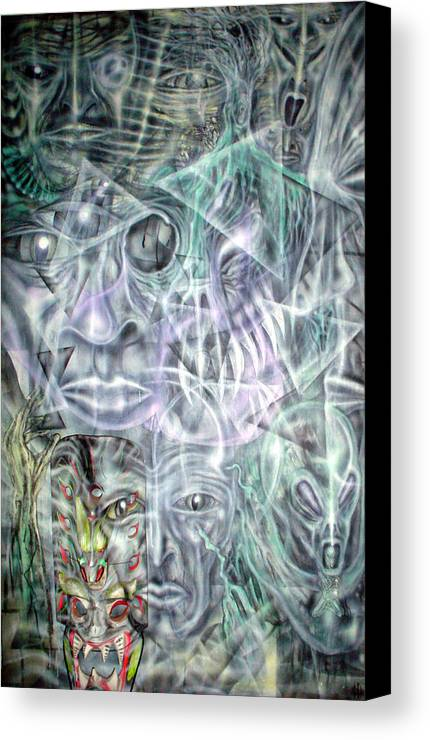 Contemporary Canvas Print featuring the painting Mask Unfolding by Leigh Odom