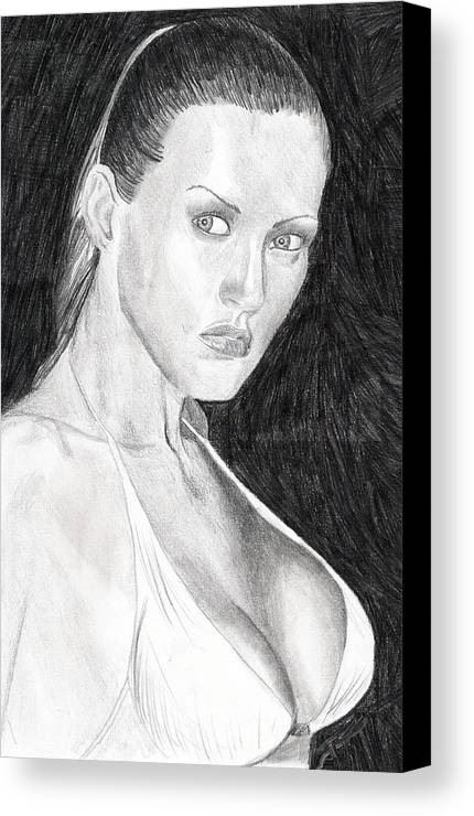 Nude Drawings Drawings Canvas Print featuring the drawing Michelle by Michael McKenzie