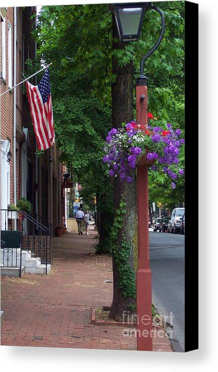 Cityscape Canvas Print featuring the photograph Patriotic Street In Philadelphia by Debbi Granruth