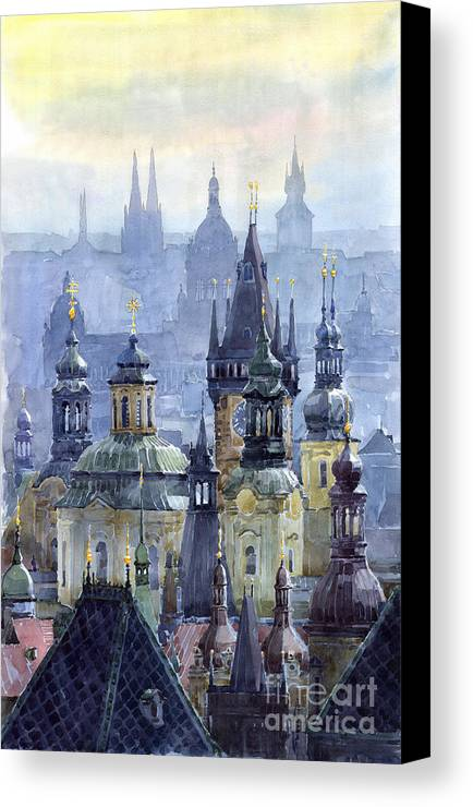 Architecture Canvas Print featuring the painting Prague Towers by Yuriy Shevchuk