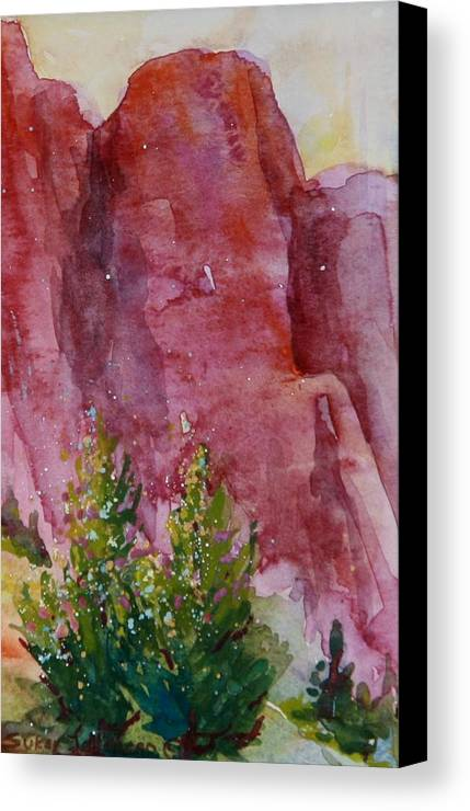 Central Oregon Canvas Print featuring the painting Red Rocks With Two Junipers by Sukey Watson