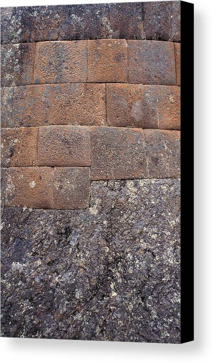 Inca Canvas Print featuring the photograph Red Stone Bricks by Marcus Best