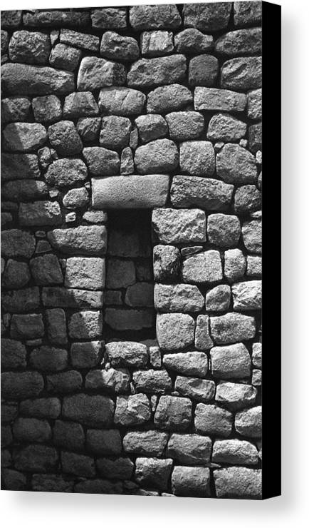 Machu Picchu Canvas Print featuring the photograph Rock Window Shadow by Marcus Best