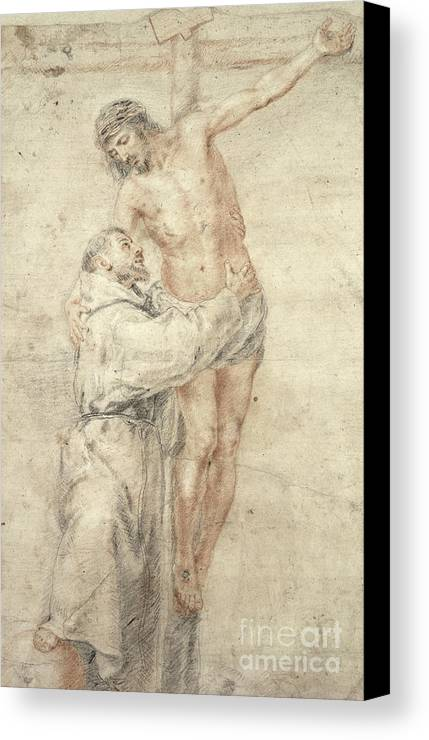Francis Canvas Print featuring the painting St Francis Rejecting The World And Embracing Christ by Bartolome Esteban Murillo