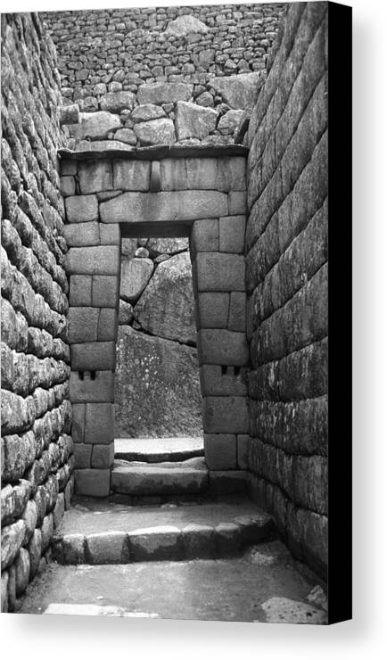 Machu Picchu Canvas Print featuring the photograph Stone Door by Marcus Best