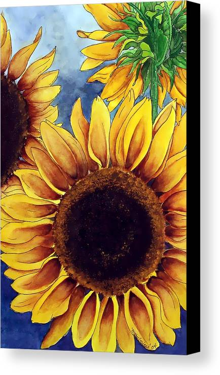 Watercolor Canvas Print featuring the painting Sunny Sunflowers by Mary Gaines