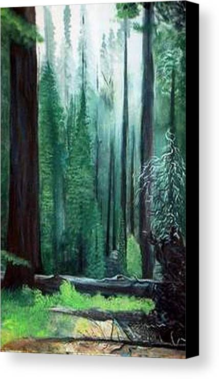 Landscape Canvas Print featuring the painting Tall Trees by Julie Lamons